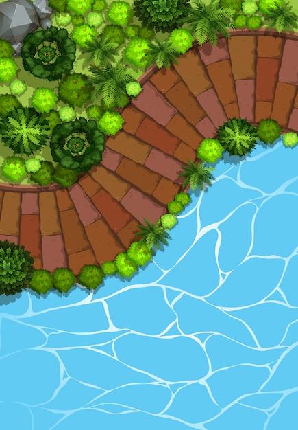 Luchtfoto van de tuin Premium Vector