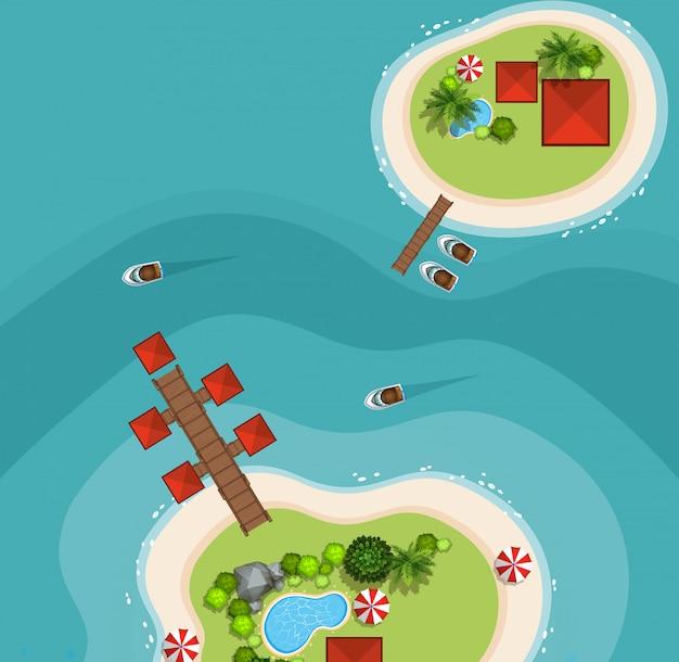 Luchtfoto van twee eilanden in de zee Gratis Vector