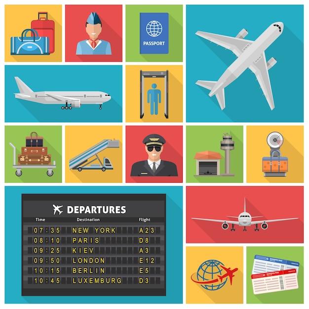 Luchthaven decoratieve plat pictogrammen instellen met vliegtuigen vertrek schema piloot ticket bagage Gratis Vector