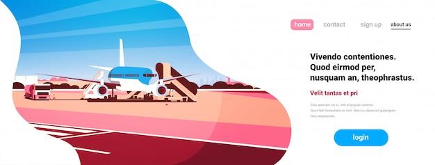 Luchthaven eindvliegtuigen vliegend vliegtuig opstijgend wachten om passagiers in te schepen Premium Vector