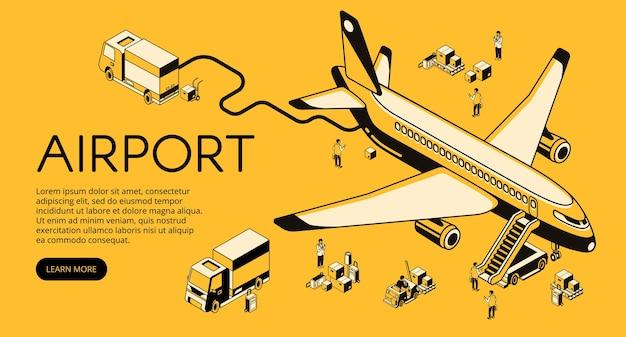 Luchthaven en vliegtuigvoorbereiding vóór of na vluchtillustratie. Gratis Vector