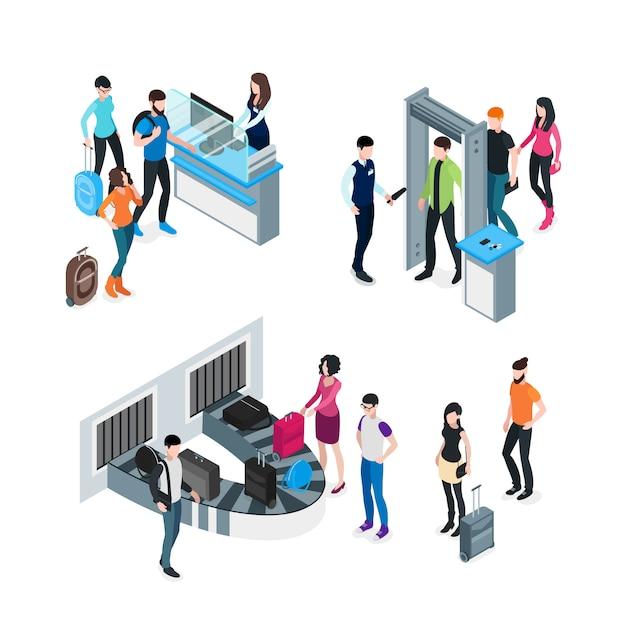 Luchthaven isometrisch concept Gratis Vector