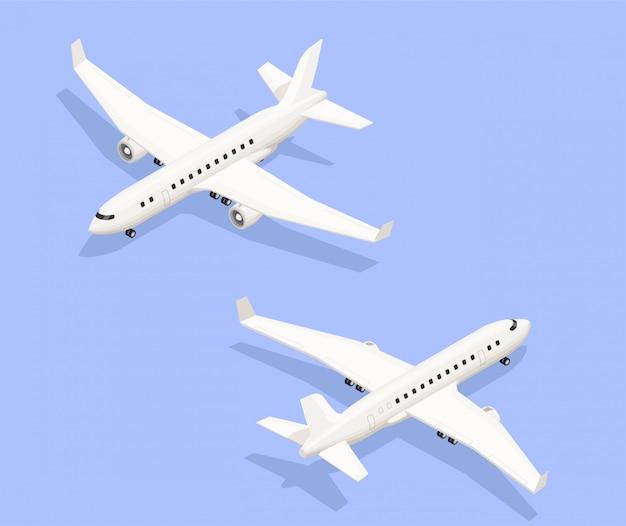 Luchthaven isometrische samenstelling met geïsoleerde beelden van straal aangedreven vliegtuigen vanuit twee verschillende invalshoeken met schaduwen vectorillustratie Gratis Vector