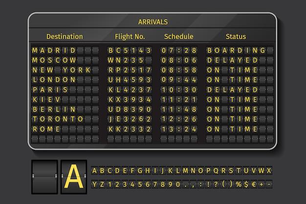 Luchthaven- of spoorwegscorebord. toon luchthaven, info met schematijd, vectorillustratie Gratis Vector