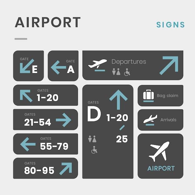 Luchthaven ondertekent pictogram vector set Gratis Vector