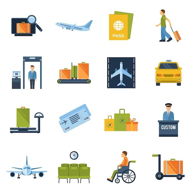 Luchthaven pictogrammen plat Gratis Vector
