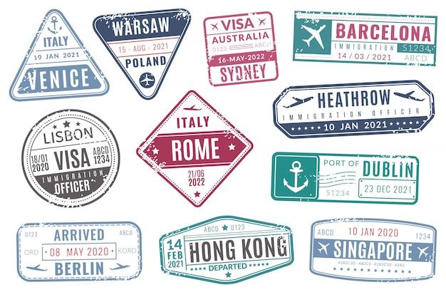 Luchthaven stempels. vintage reizen paspoort visum immigratie aangekomen stempel met grunge textuur. geïsoleerde vector set Premium Vector