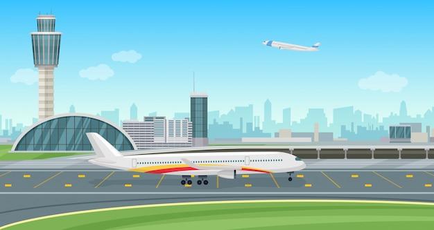 Luchthaven terminal gebouw met opstijgende vliegtuigen. luchthaven landschap. Premium Vector