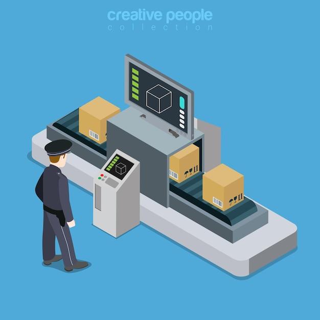 Luchthaven transport beveiliging x-ray scan tape plat isometrisch Premium Vector