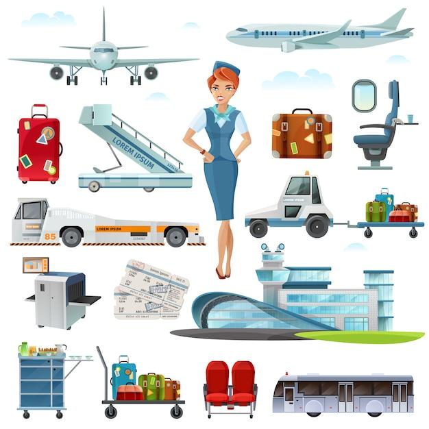 Luchthaven vlucht accessoires platte pictogrammen instellen Gratis Vector