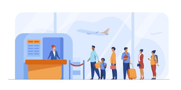 Luchthaven wachtrij vectorillustratie Gratis Vector