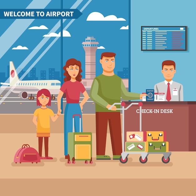 Luchthaven werk illustratie Gratis Vector