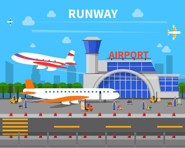 Luchthavenbaan illustratie Gratis Vector