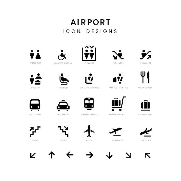 Luchthavendienst ondertekent vectorreeks Gratis Vector