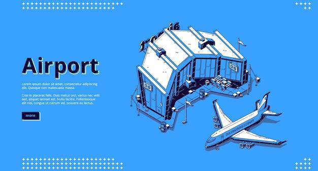 Luchthaventerminal en vliegtuig. Gratis Vector