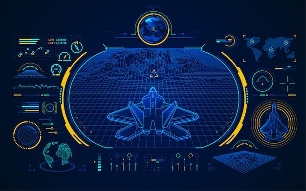 Luchtjager-interface Premium Vector