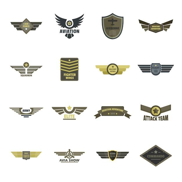 Luchtmacht marine militaire logo pictogrammen instellen Premium Vector