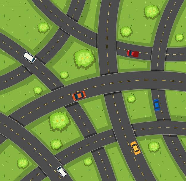 Luchtmening van auto's op wegen Gratis Vector
