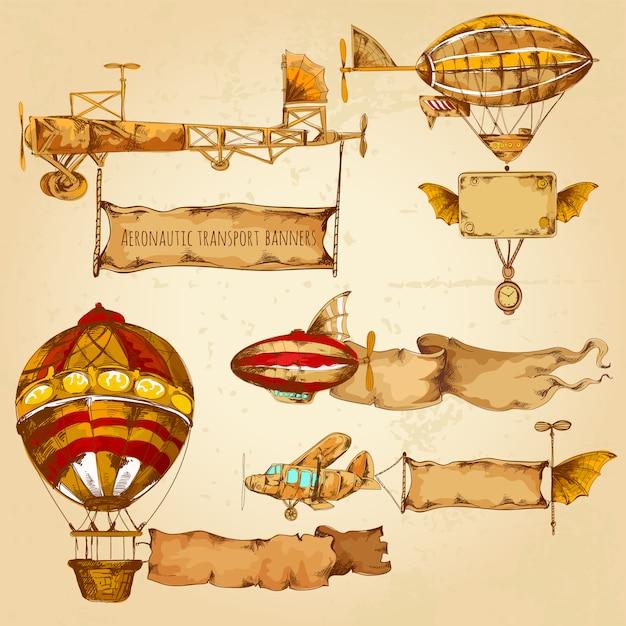 Luchtschepen met banners Gratis Vector