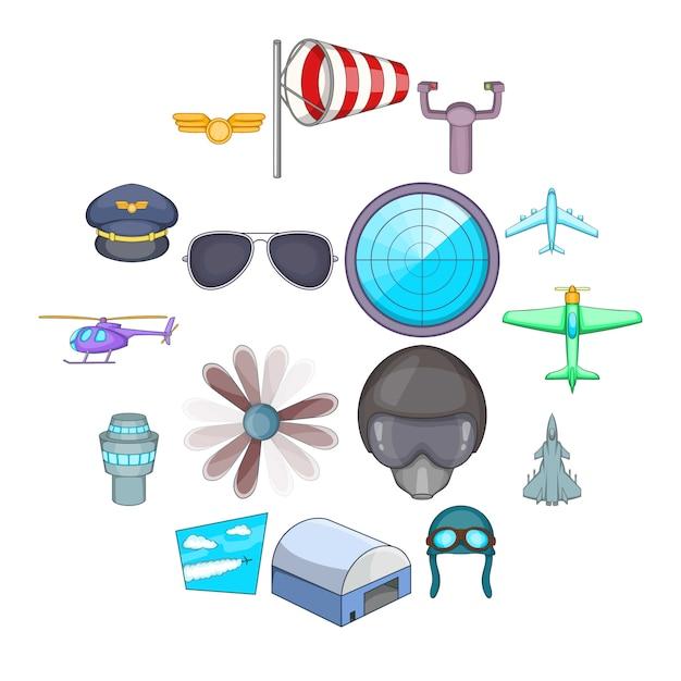 Luchtvaart iconen set, cartoon stijl Premium Vector