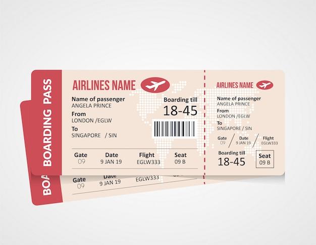 Luchtvaartmaatschappij instapkaart ticket sjabloon Premium Vector