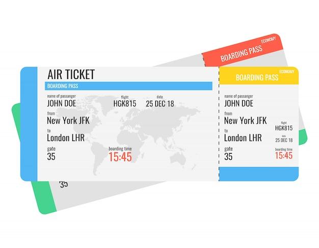 Luchtvaartmaatschappij instapkaart tickets Premium Vector