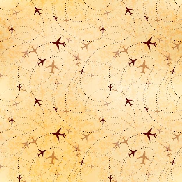 Luchtvaartmaatschappij routes, kaart op oud papier, naadloos patroon Premium Vector