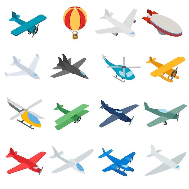 Luchtvaartpictogrammen in isometrische 3d stijl. vliegtuigen instellen geïsoleerde vectorillustratie Premium Vector