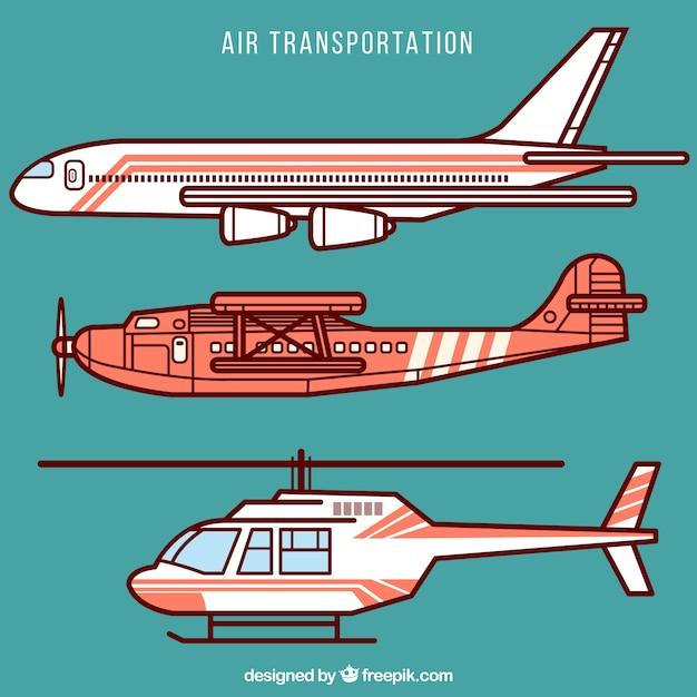 Luchtvervoer collectie Gratis Vector