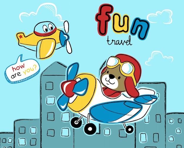 Luchtvliegtuig cartoon met schattige piloot Premium Vector