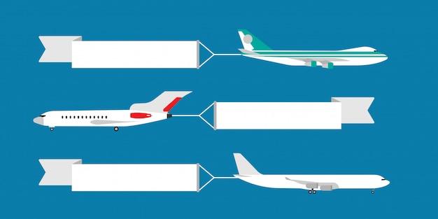 Luchtvliegtuig die met de illustratie van de lintbanner vliegen. advertentie kaartsjabloon reizen. Premium Vector