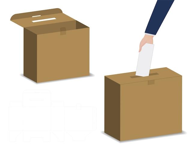 Lucky draw box 3d mockup met dieline Premium Vector