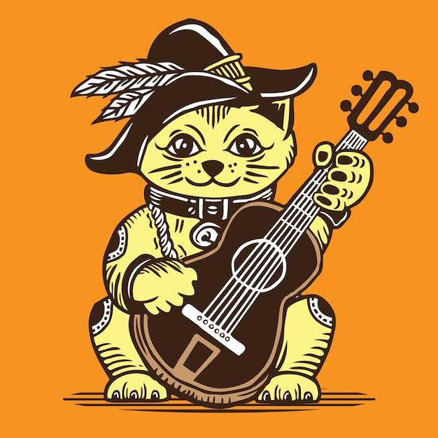 Lucky fortune cat speelt akoestische gitaar in cowboystijl Premium Vector