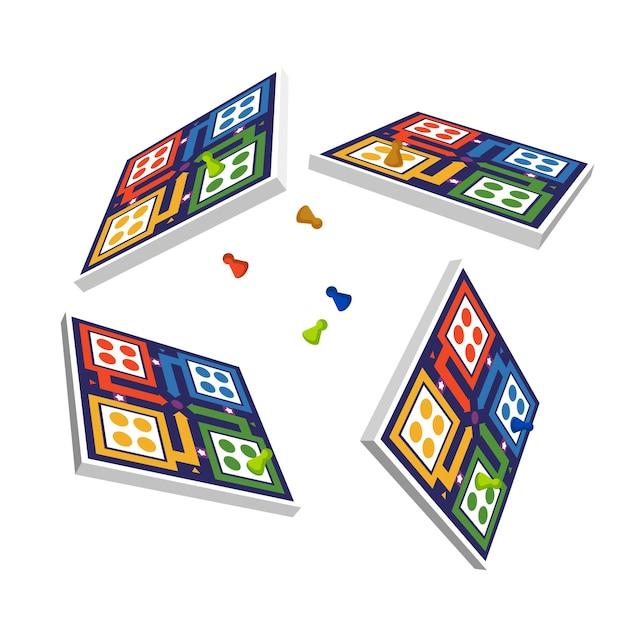 Ludo-spel vanuit verschillende perspectieven Gratis Vector