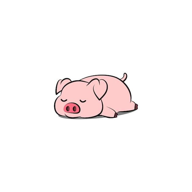Lui varken slapen cartoon, vectorillustratie Premium Vector