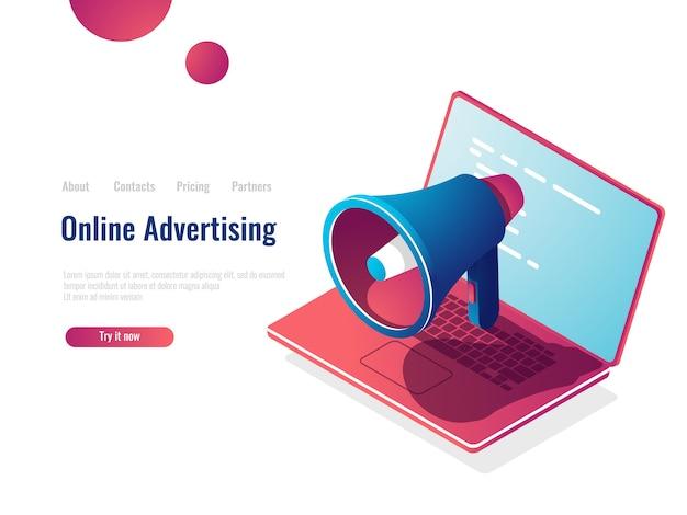 Luidspreker isometrisch pictogram, online internet adverteren en promotie, smm social media marketing Gratis Vector