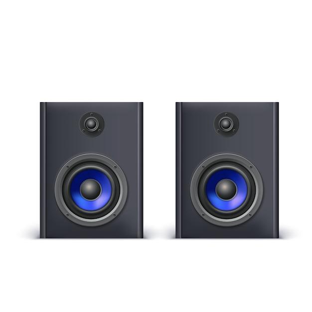 Luidsprekers met blauwe diffusors Premium Vector