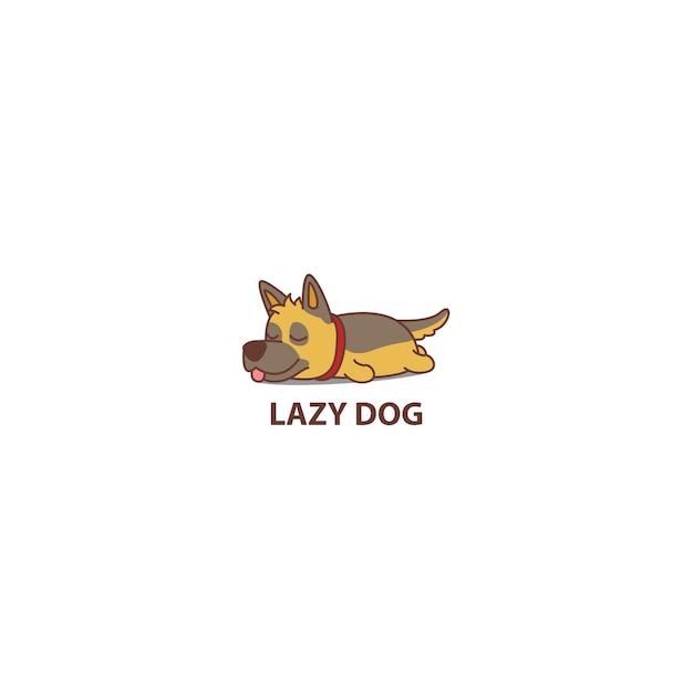 Luie duitse herdershond slapend cartoon icoon Premium Vector