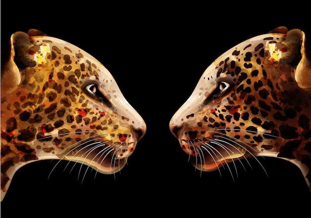 Luipaard aquarel Premium Vector