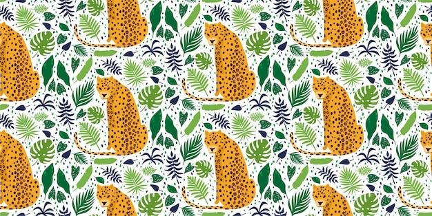 Luipaarden omgeven door tropische palmbladeren. elegant zomer vector naadloze patroon Premium Vector