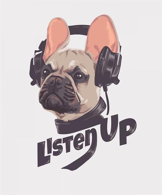 Luister slogan met hond en koptelefoon Premium Vector