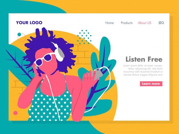 Luisteren muziekillustratie meisje voor landingspagina Premium Vector