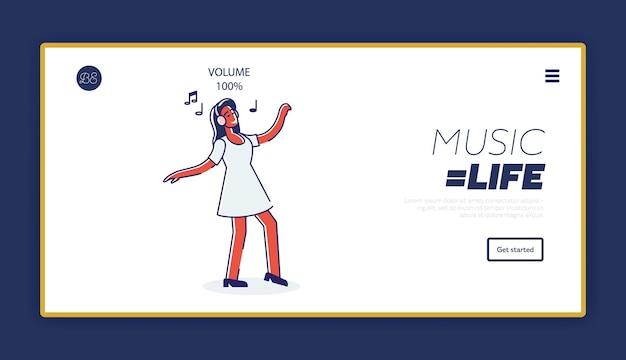 Luisteren naar muziekconcept van sjabloonlandingspagina met cartoonmeisje dat van liedjes in hoofdtelefoons geniet Premium Vector