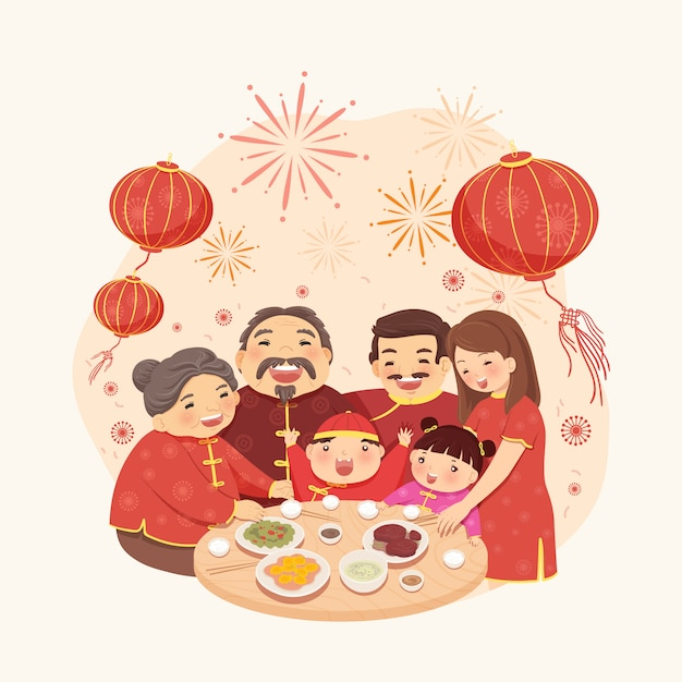 Lunar New Year Family Meal Premium Vector