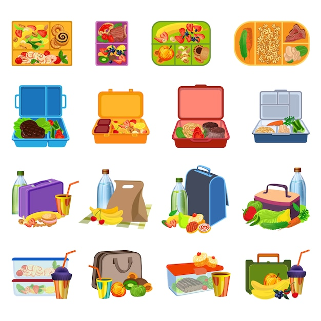 Lunchbox pictogrammen instellen. cartoon set van lunchbox pictogrammen Premium Vector