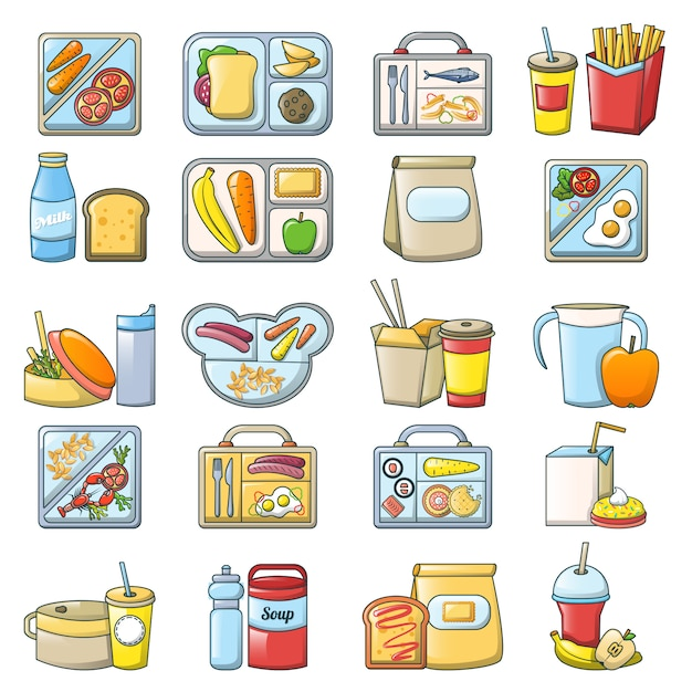 Lunchpauze lunch voedsel pictogrammen instellen Premium Vector