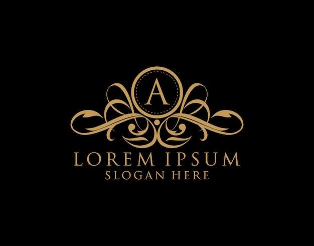 Luxe a-brieflogo, premium koninklijke badge voor restaurant, royalty, boetiek, bruiloft, hotel, heraldiek, sieraden, mode en label. Premium Vector