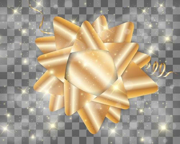 Luxe achtergrond met een gouden strik op een transparante achtergrond. gouden boog. Premium Vector