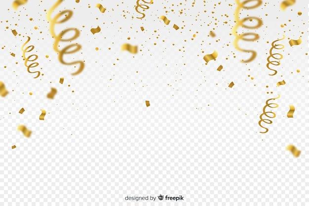 Luxe achtergrond met gouden confetti Gratis Vector