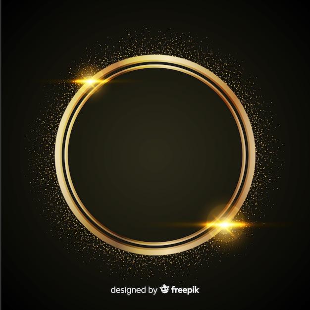 Luxe achtergrond met gouden deeltjes en afgeronde cirkel frame Gratis Vector